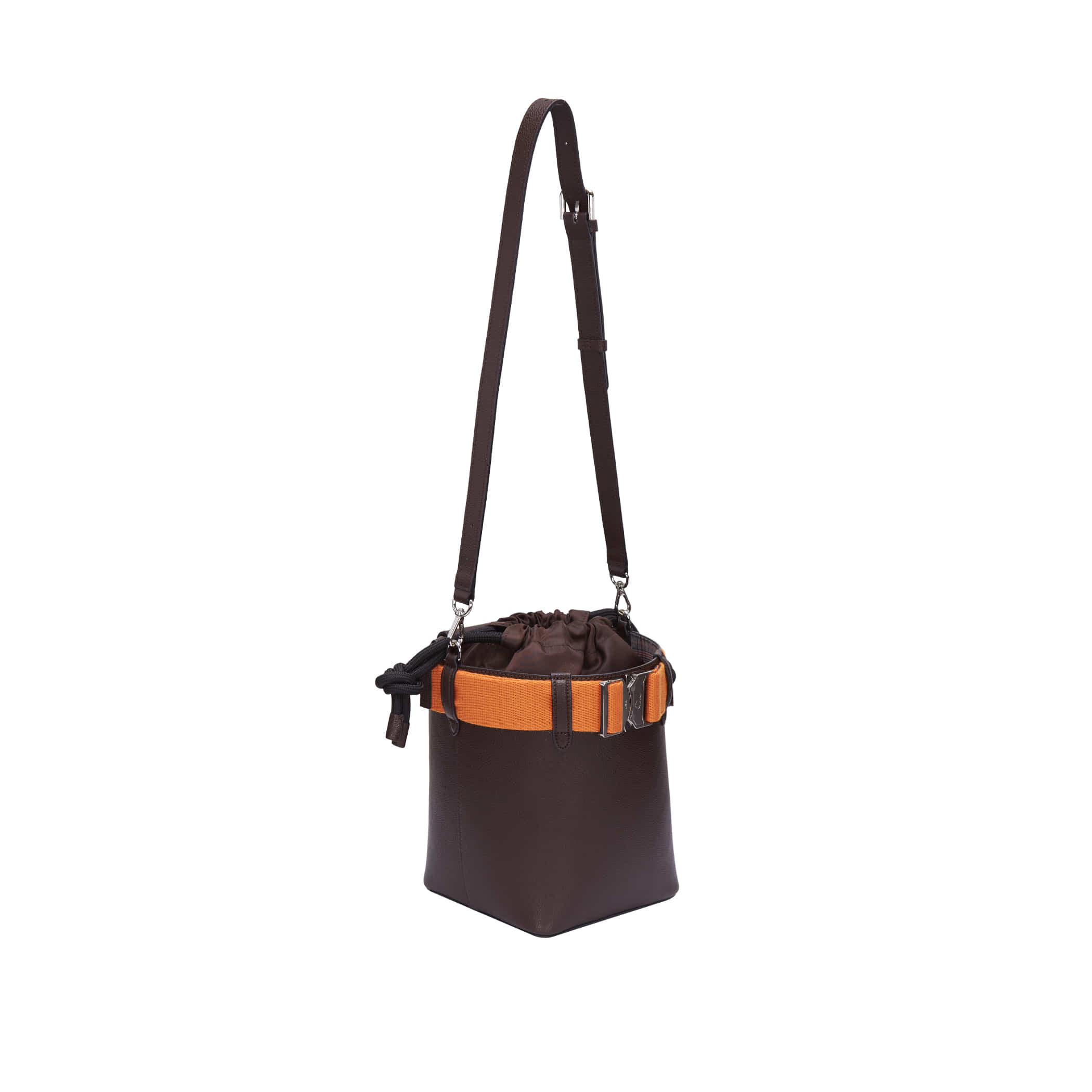 Clu_LETCHU BUCKLE-UP BUCKET BAG IN  BROWN