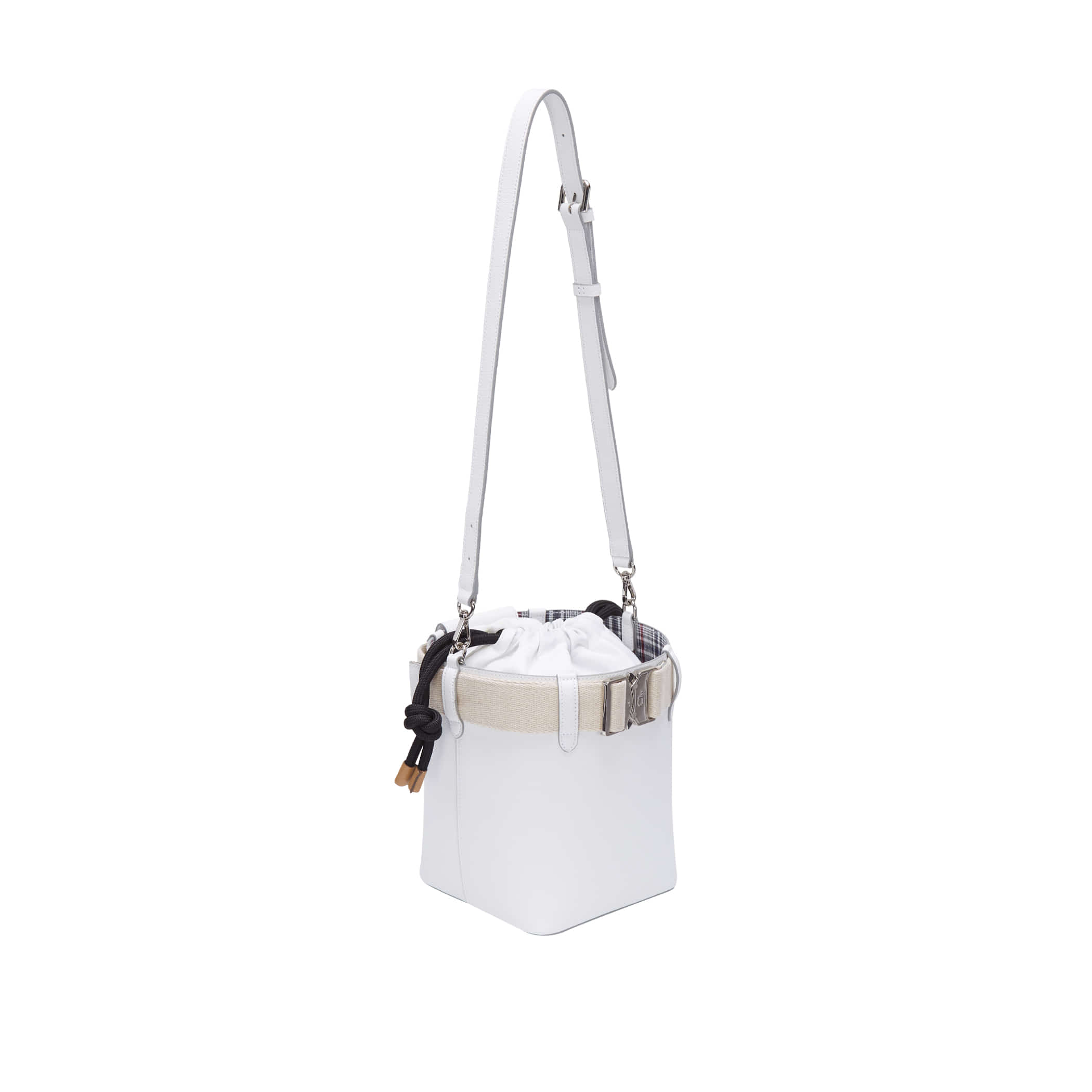 Clu_LETCHU BUCKLE-UP BUCKET BAG IN WHITE
